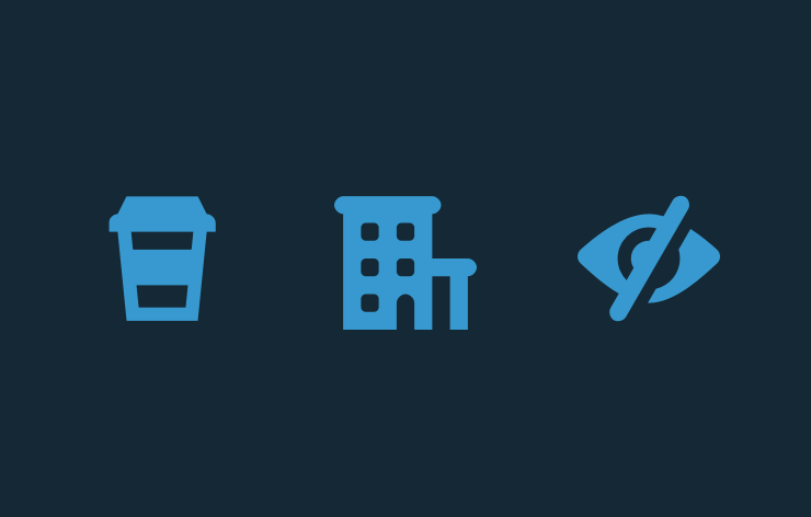 A blue coffee icon, hotel icon, and eye icon set on a navy blue background