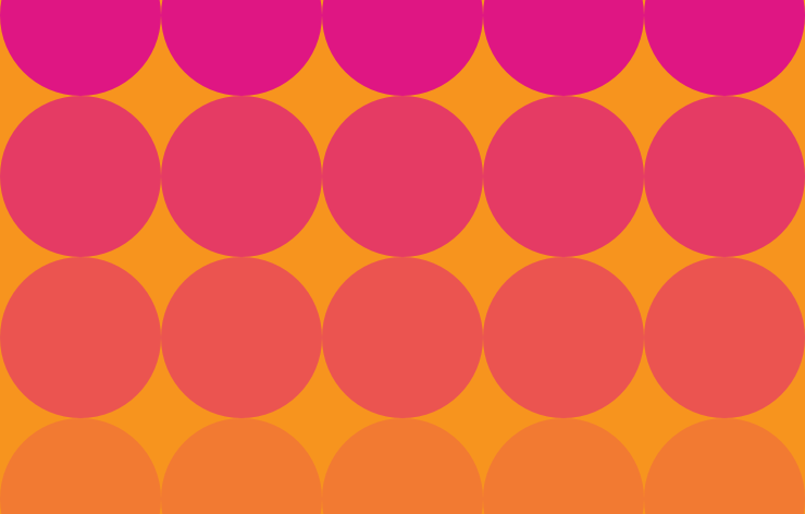 Pink circles in an array on an orange background