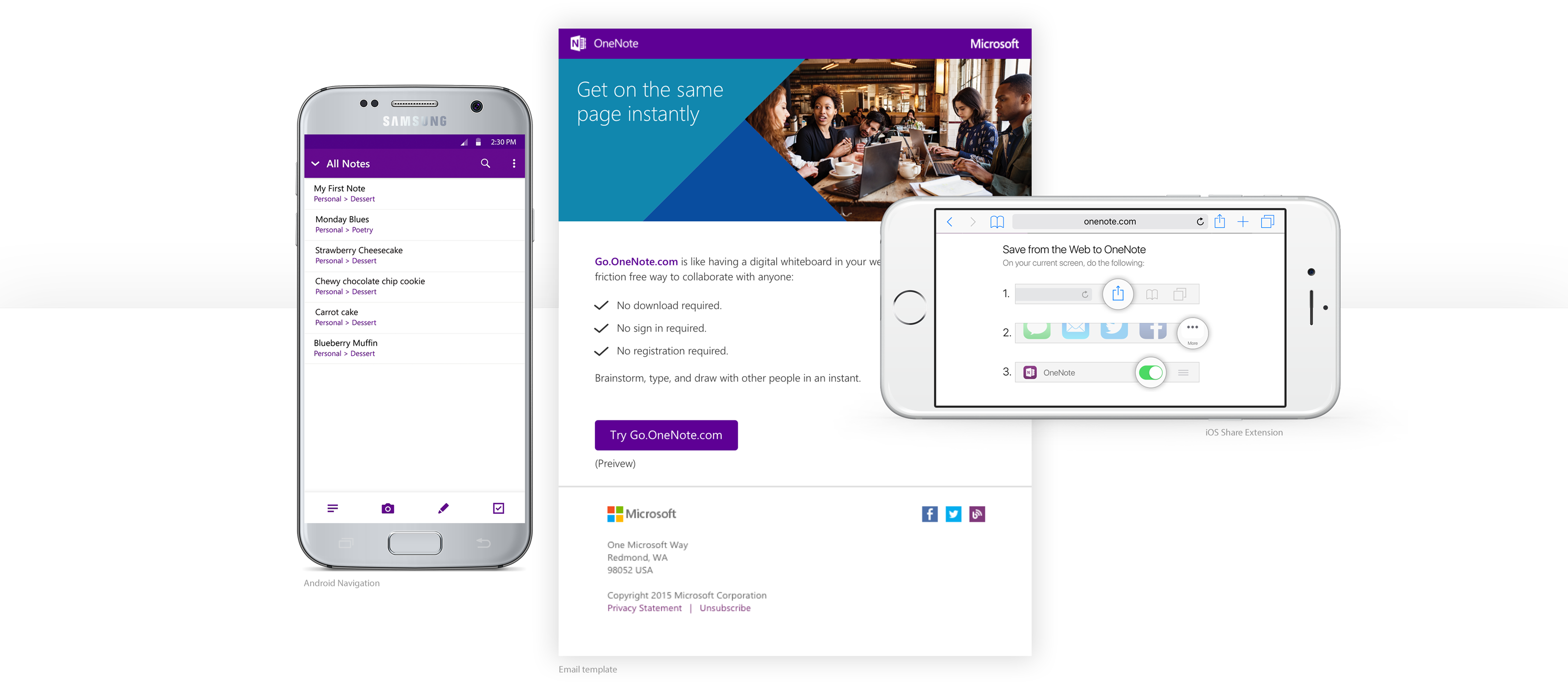 Multiple devices set on top of each other showing screenshots of OneNote