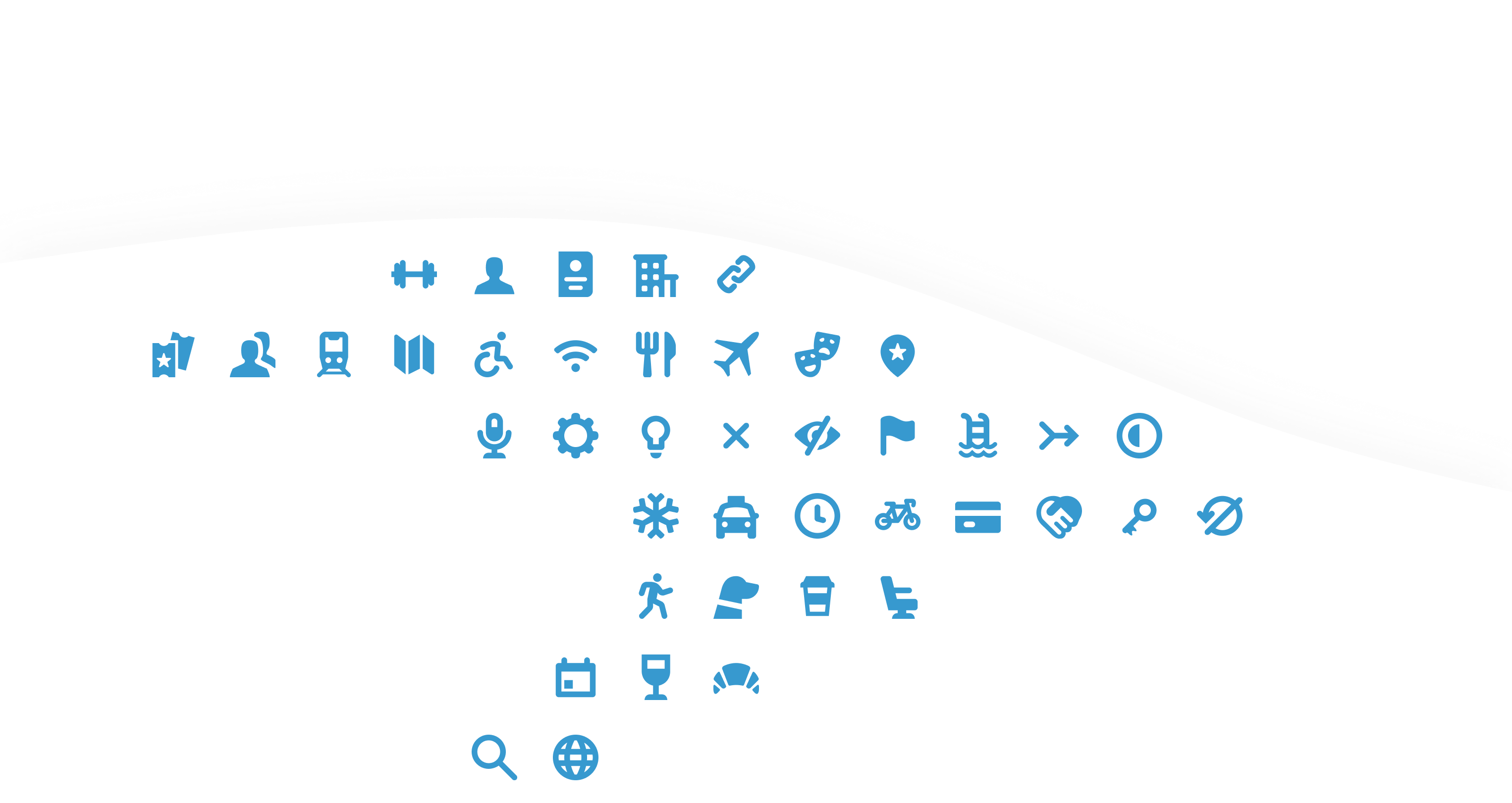Layout of icons that form the shape of the Egencia logo
