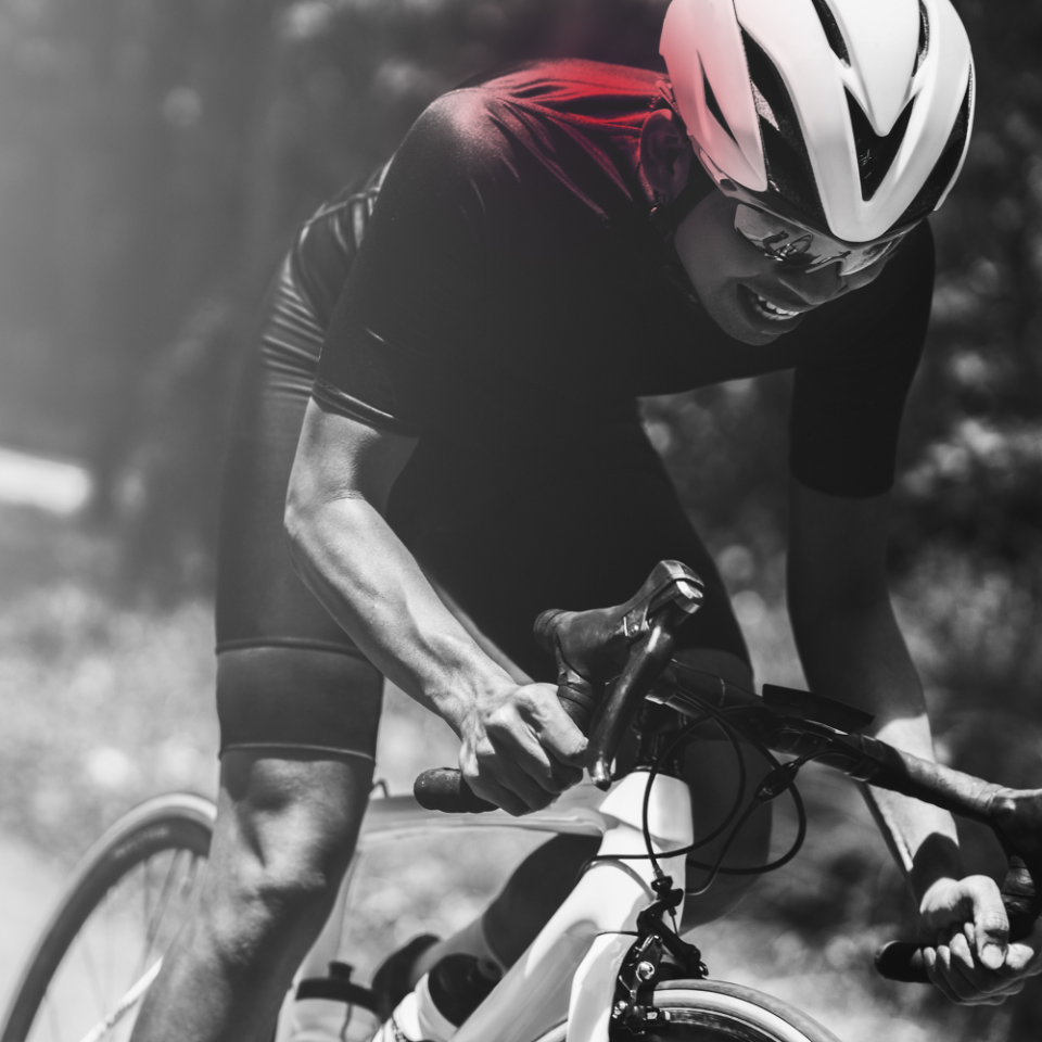 Cyclist with shoulder pain