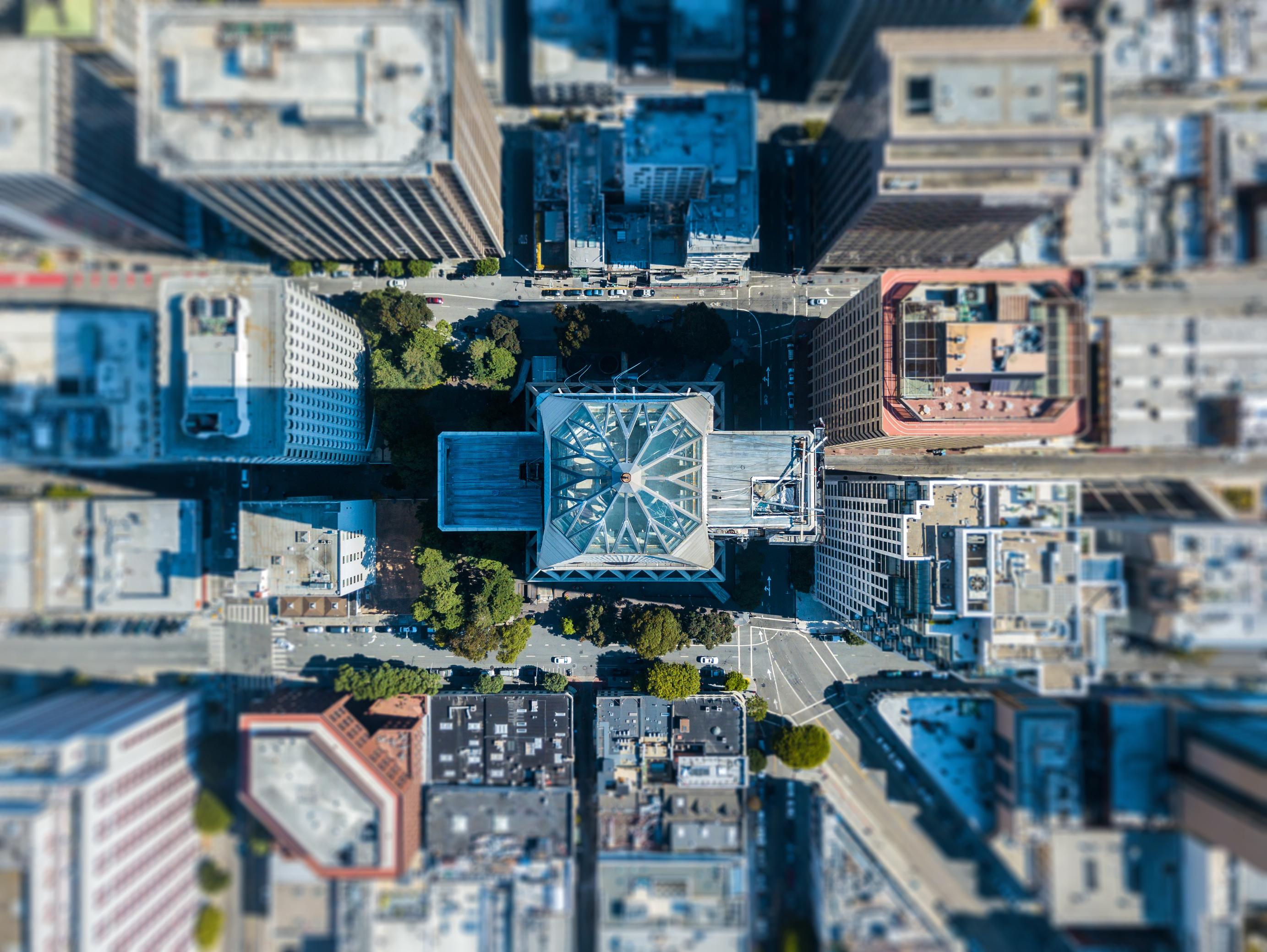 Cidade vista de cima - Software iluminação pública Exati