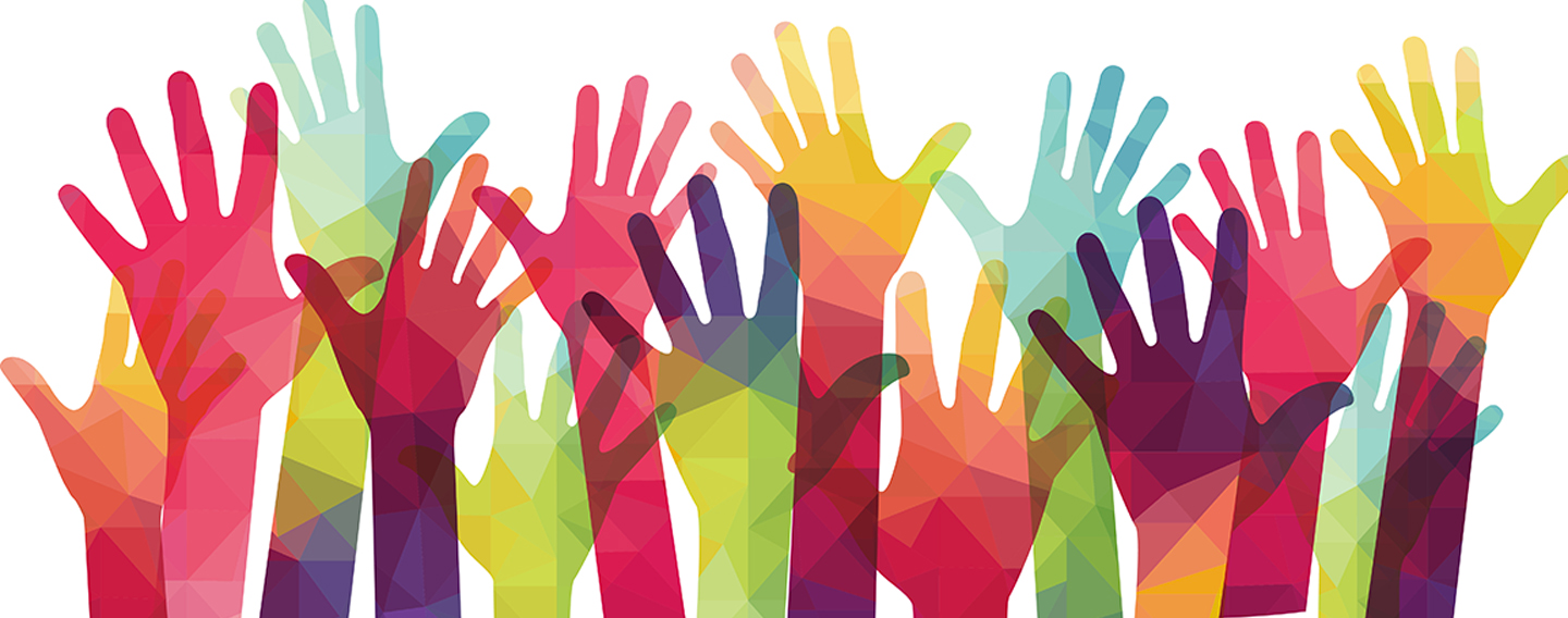 A colorful painting of raised hands