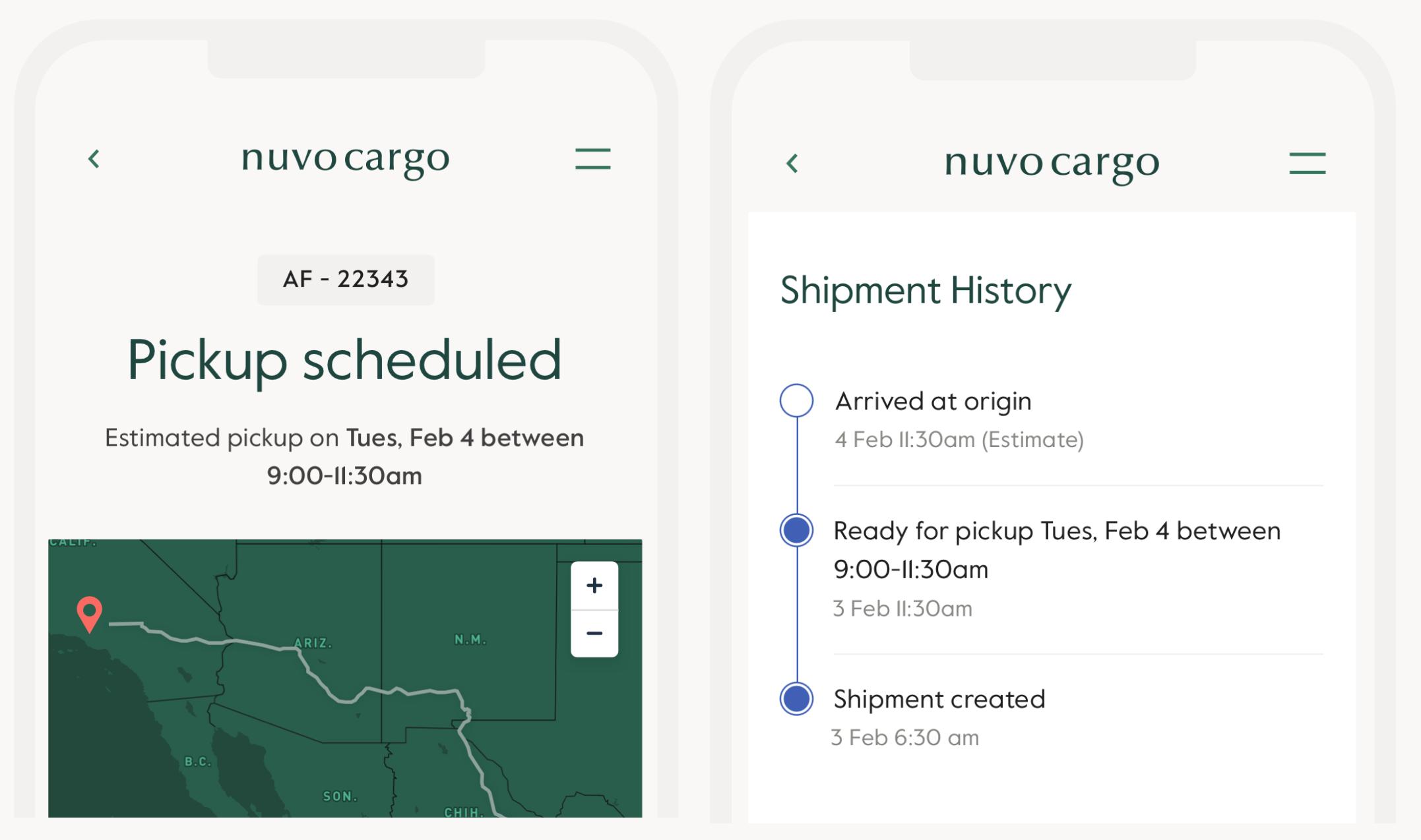 Interfaz de Nuvocargo para dispositivos móviles
