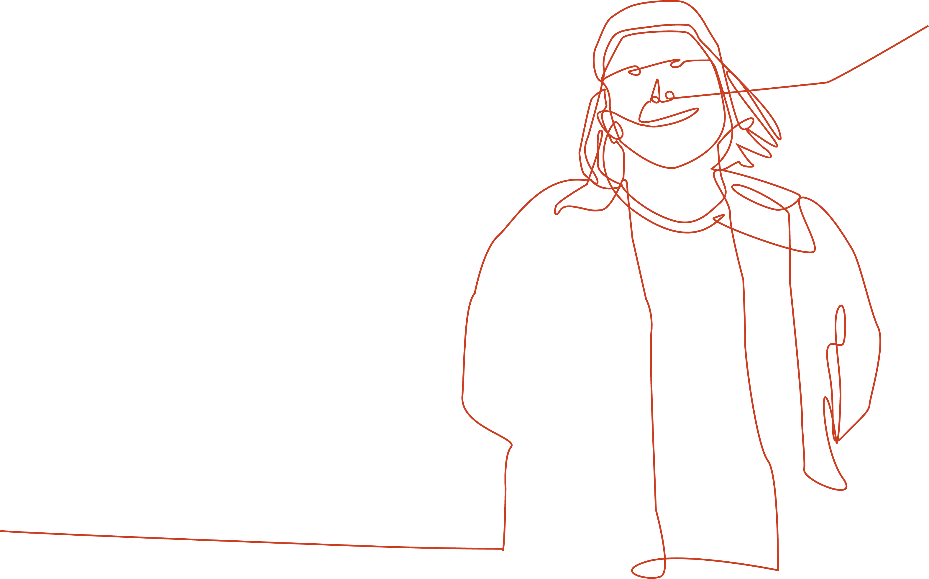A line drawing of me with a bright orange red line.