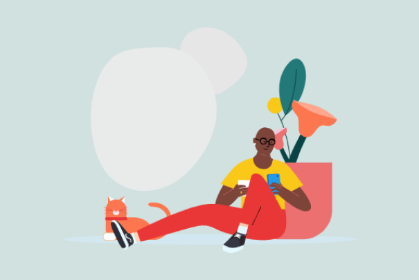 A representative illustration for the work done of a person working on their wellbeing with the app.