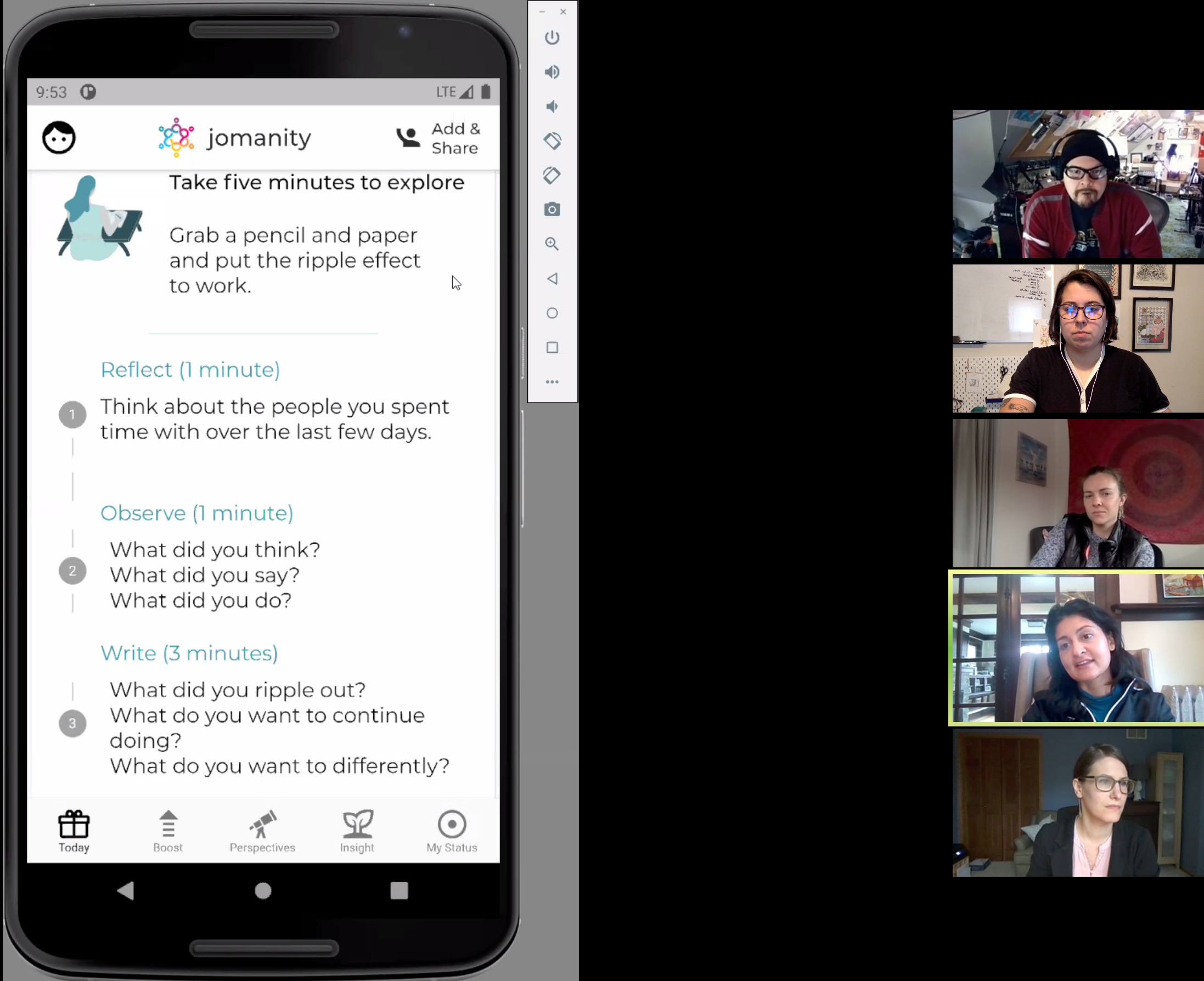 Screenshot of first client meeting with Sarita Parikh, Co-CEO of Jomanity.