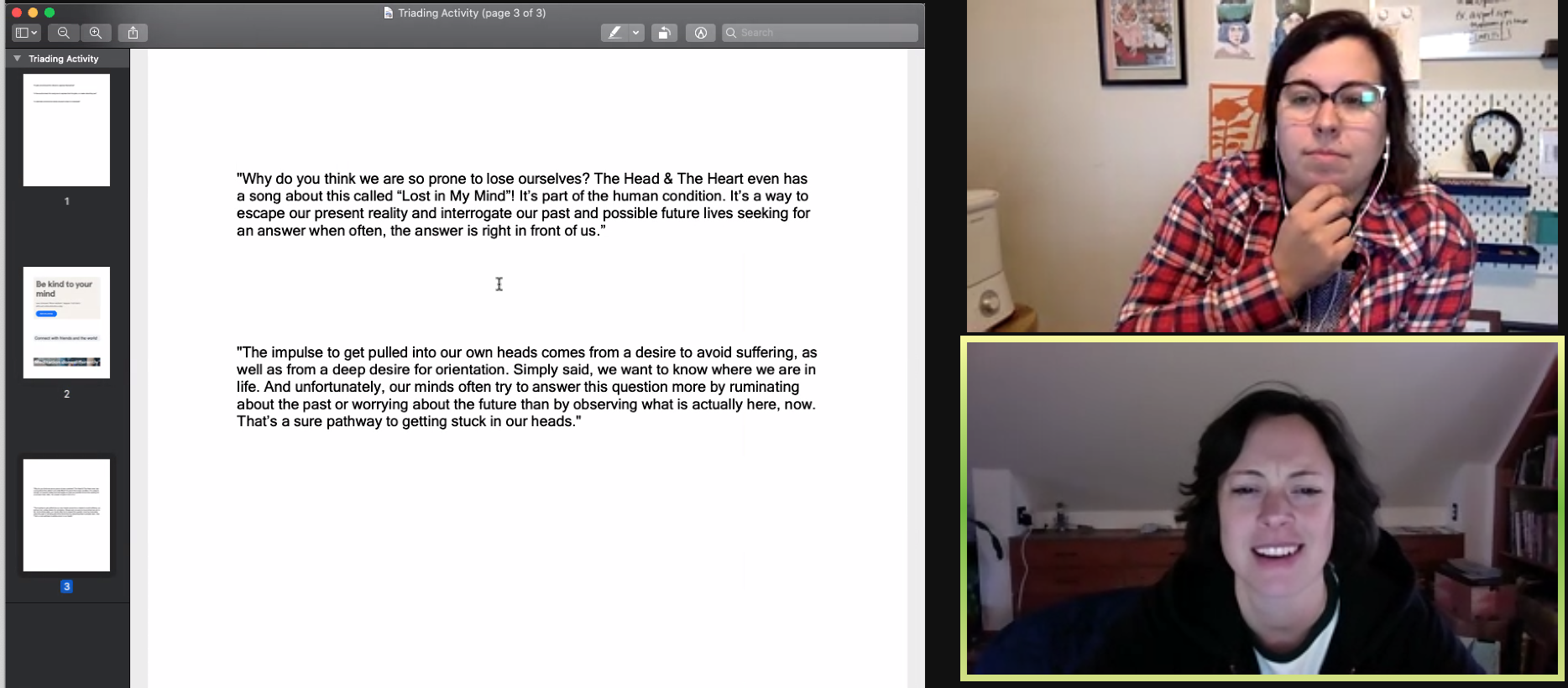 Screenshot of a research session in which I conducted a variation of triad testing to compare voice of content.