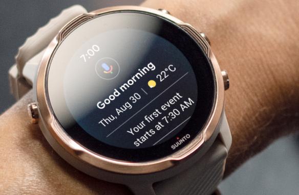 Suunto 7 smartwatch on a person's wrist.