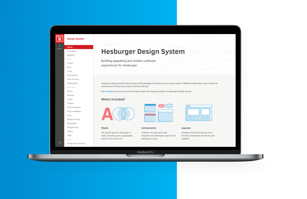 A desktop displaying a view from Hesburger's design system.