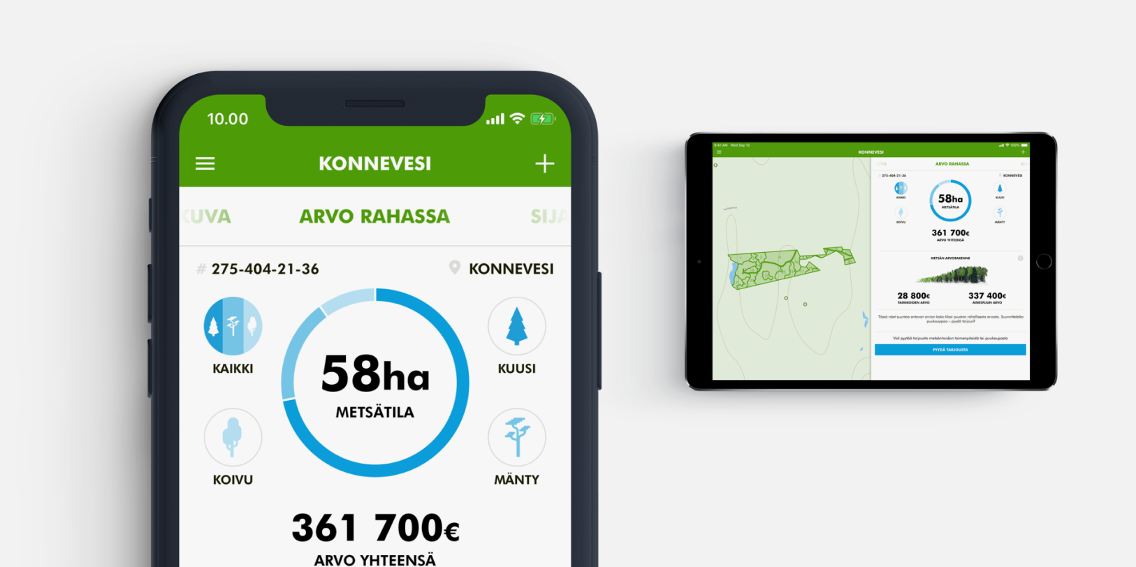 An iPhone and an iPad displaying the various views of the UPM Metsä app.
