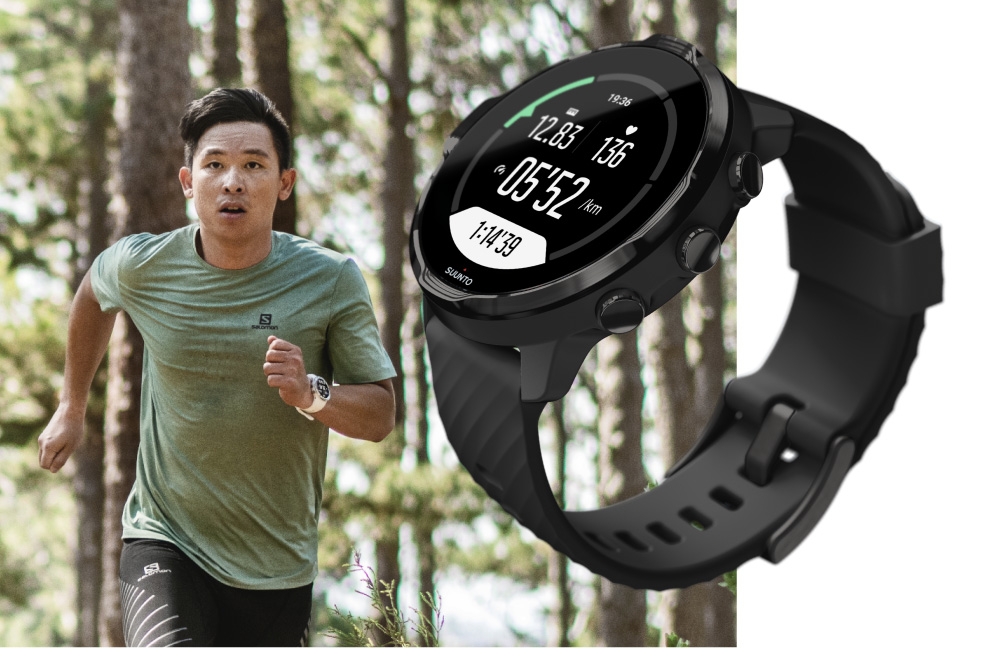 A person running in the forest. An image of the Suunto 7 smartwatch on the foreground.
