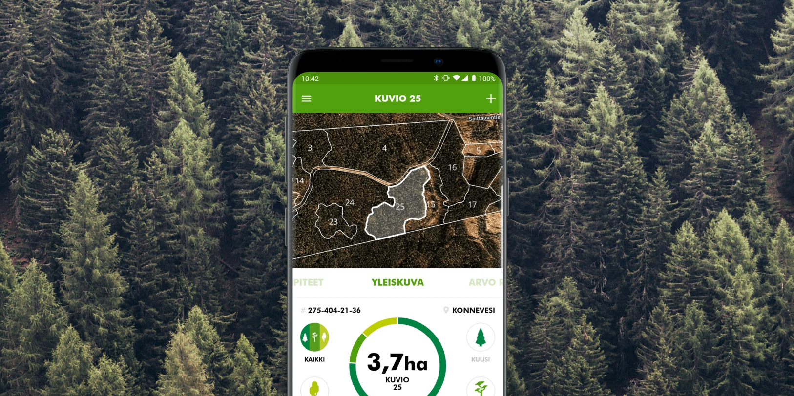 A phone displaying the UPM Metsä app. Decorative background of a forest.