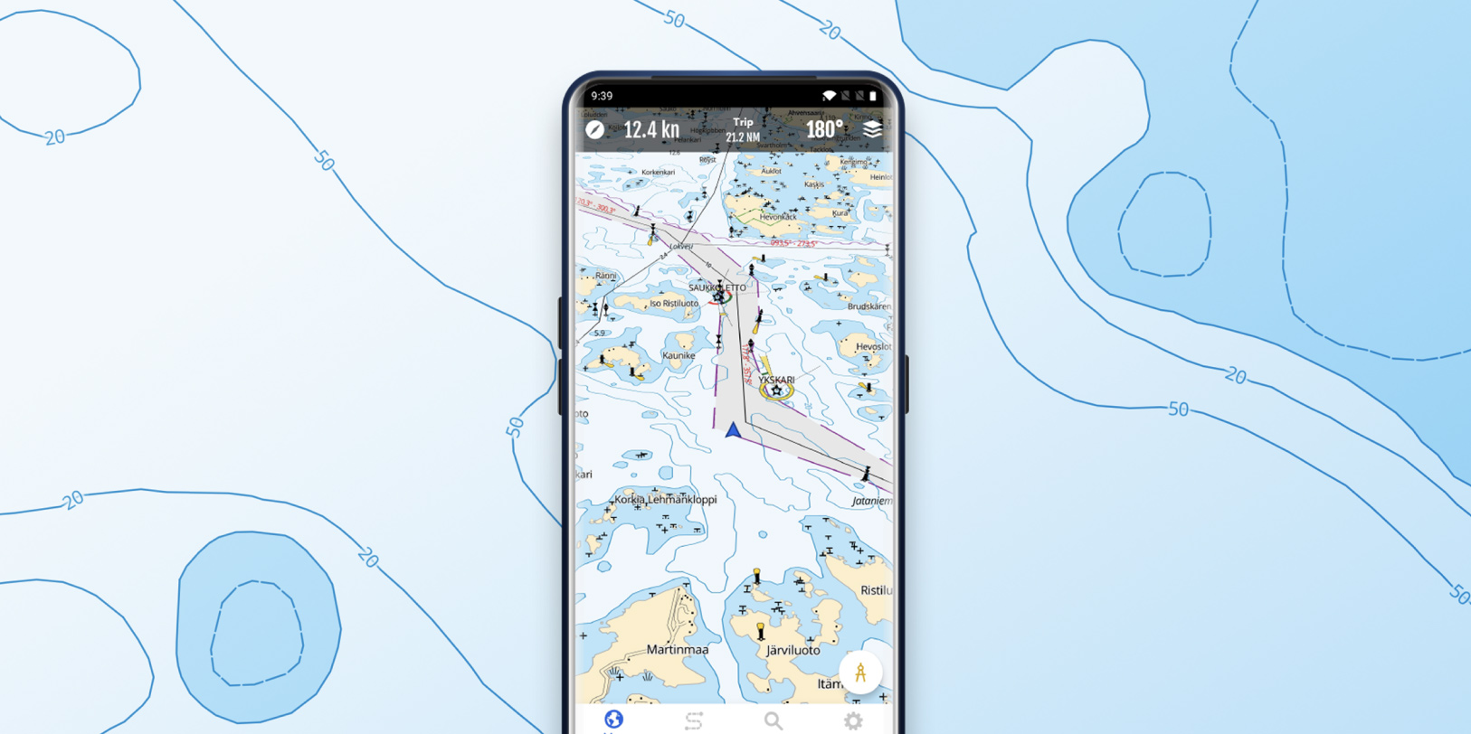 A phone displaying the map view of  the Loisto Mariner app.