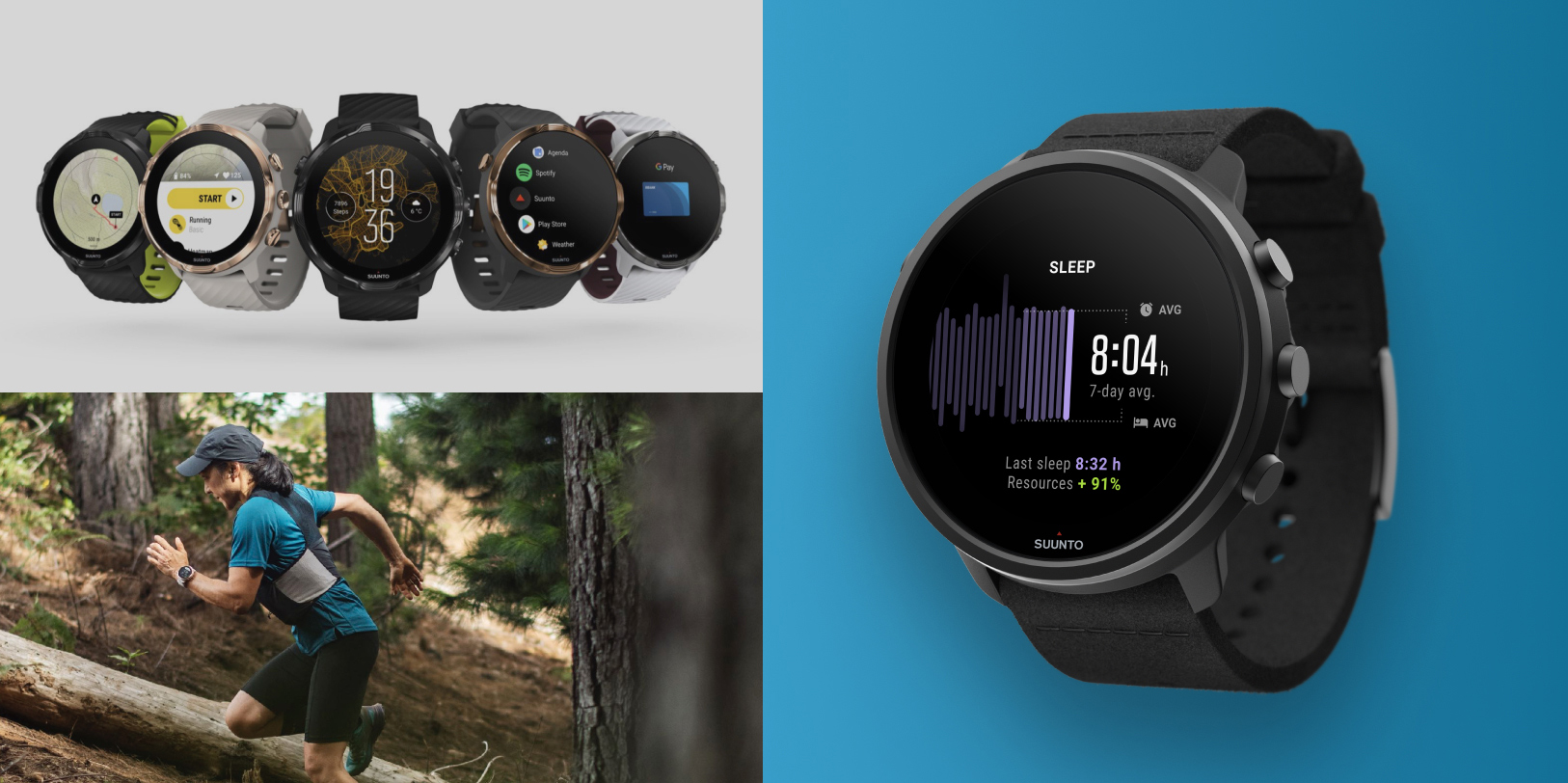 An image collage of the different versions of Suunto 7 and a runner in the forest wearing a Suunto 7.