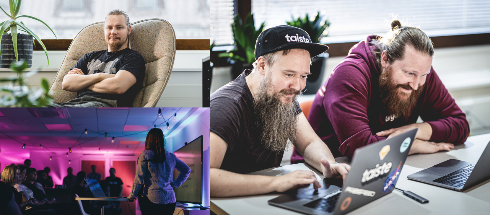 A photo collage from the office: Software Developer Eetu sitting on a chair, UX Designers Ville and Joona working together and a visitor having a presentation in front of a small audience.