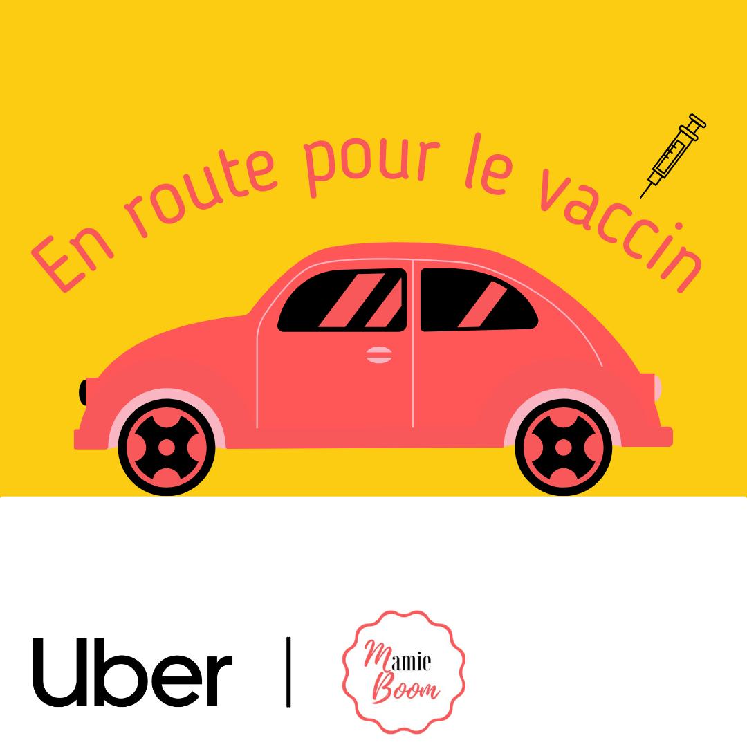 Flyer partenariat uber et Mamie-Boom pour la vaccination