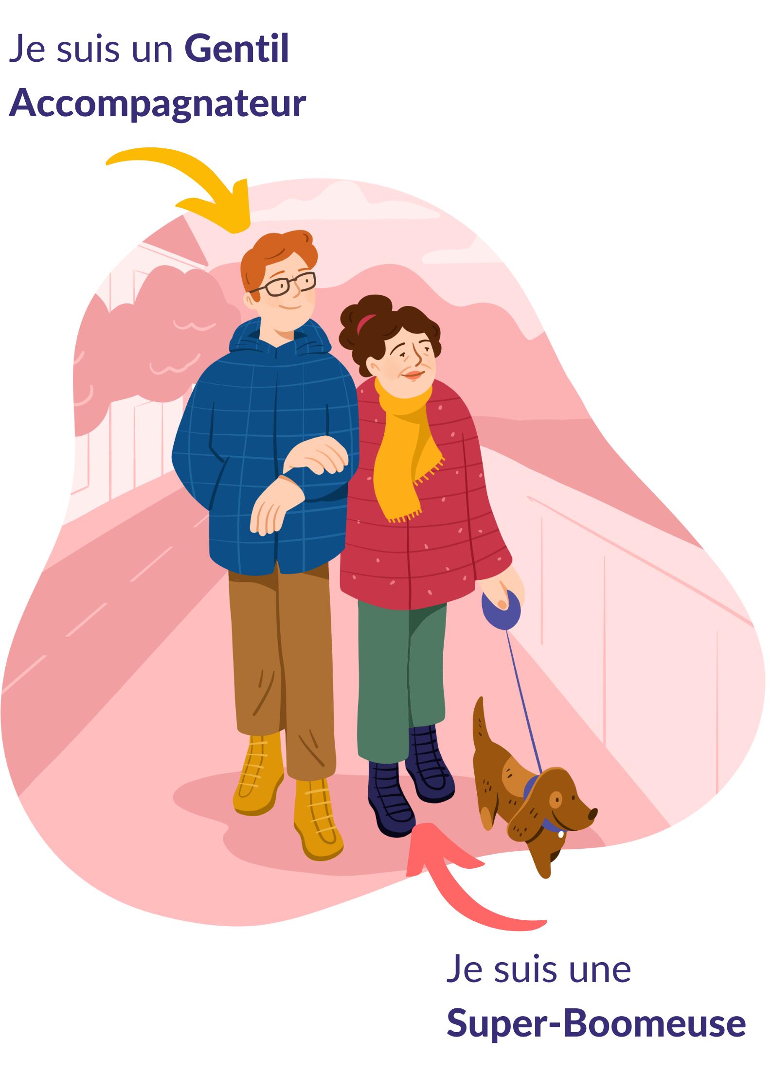 Gentil Accompagnateur et retraitée promènent un chien ensemble