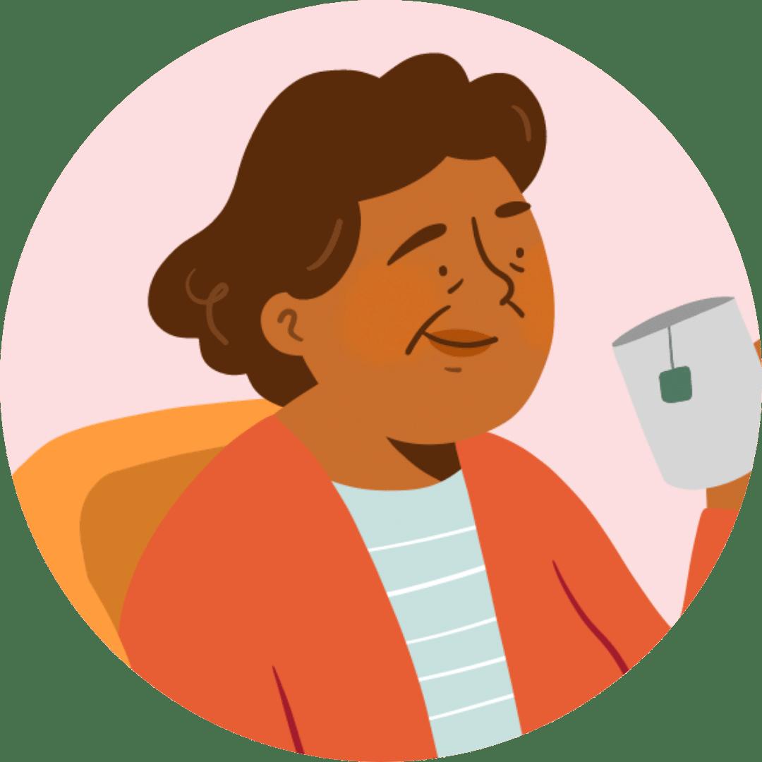 Illustration retraitée qui boit un thé