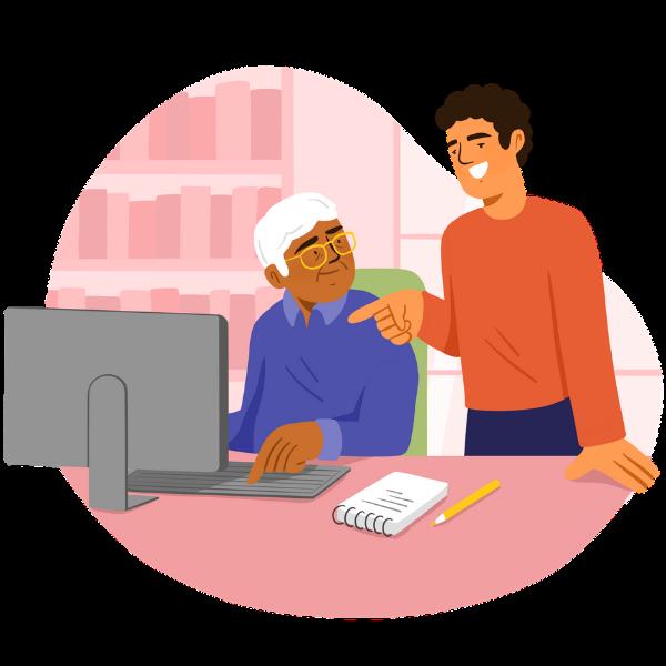 Accompagnateur aide retraité en informatique