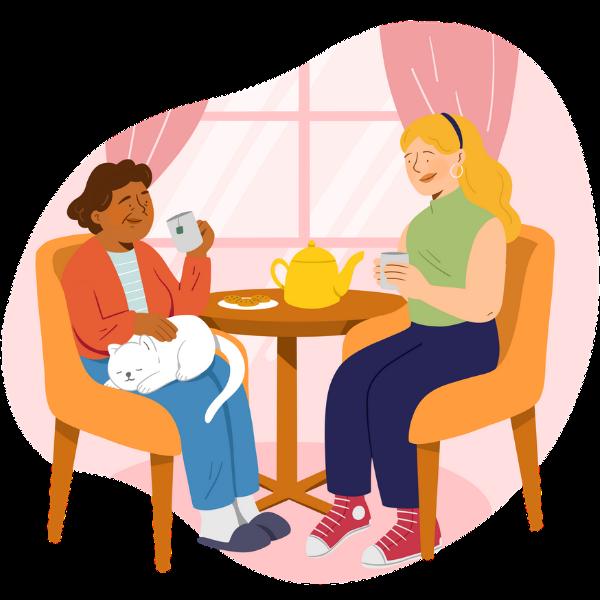 Retraitée et accompagnatrice assises et boivent un thé