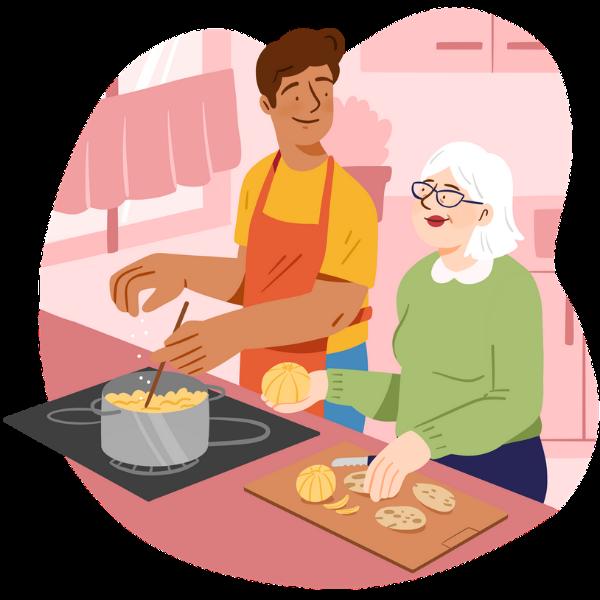 Retraitée et accompagnateur font la cuisine