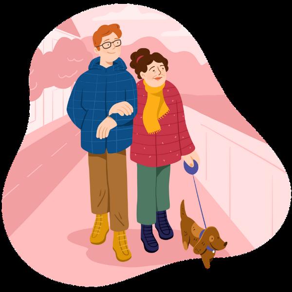 Retraitée et accompagnateur promène le chien ensemble