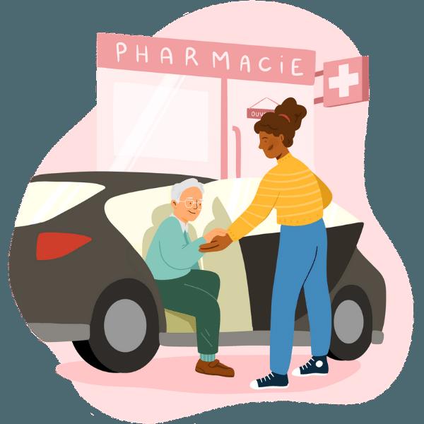 Accompagnatrice aide retraité à aller à la pharmacie