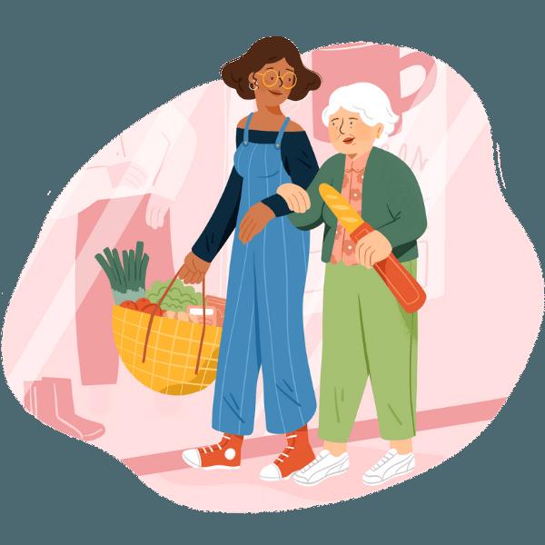 Retraitée et accompagnatrice font les courses ensemble