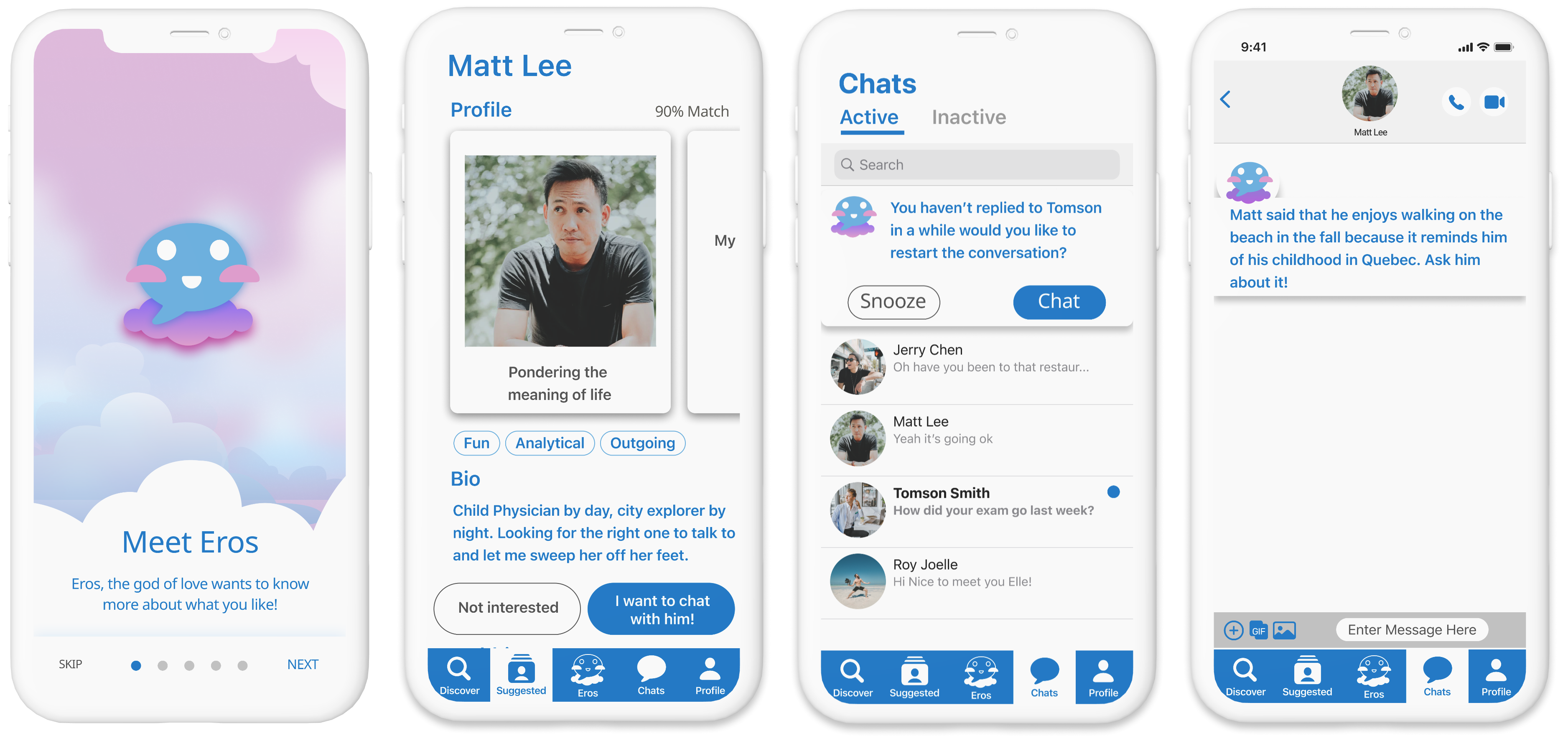 Mobile app screen designs for Chattr an online dating app
