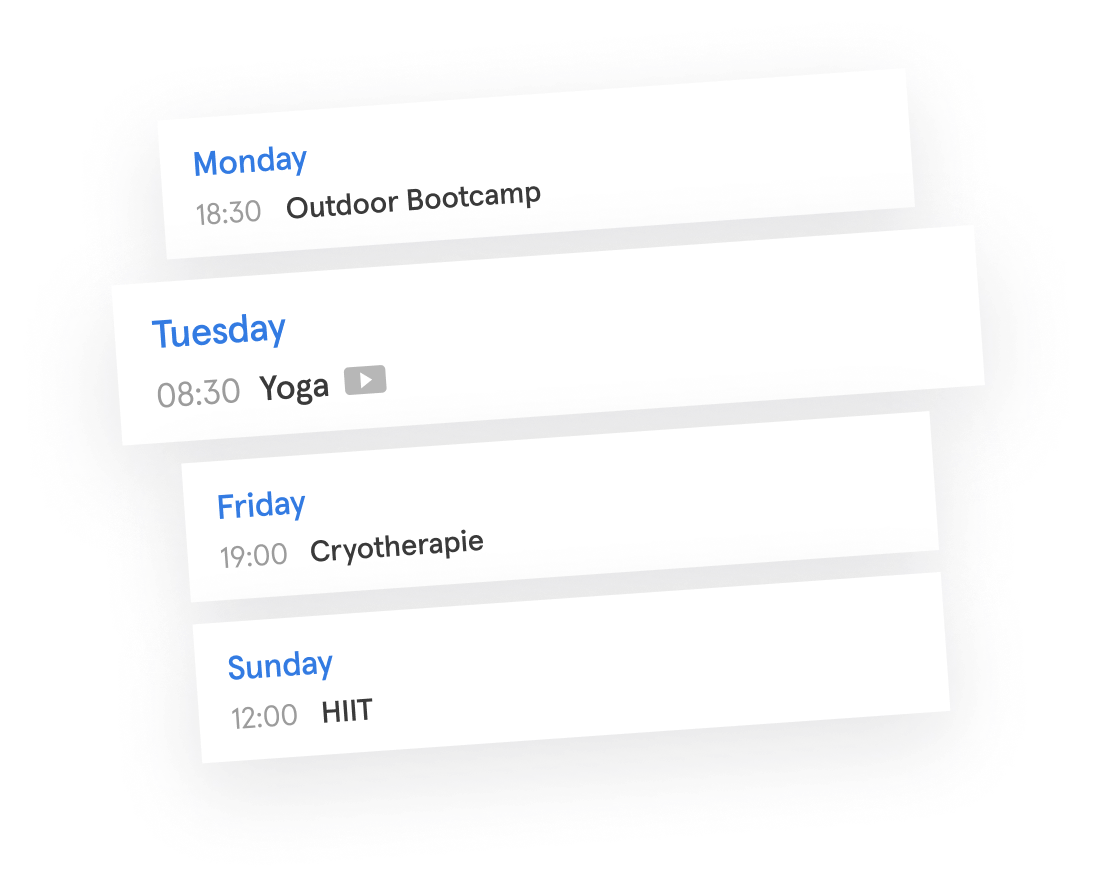 Sports schedule with Bootcamp, Yoga and HIIT bookings