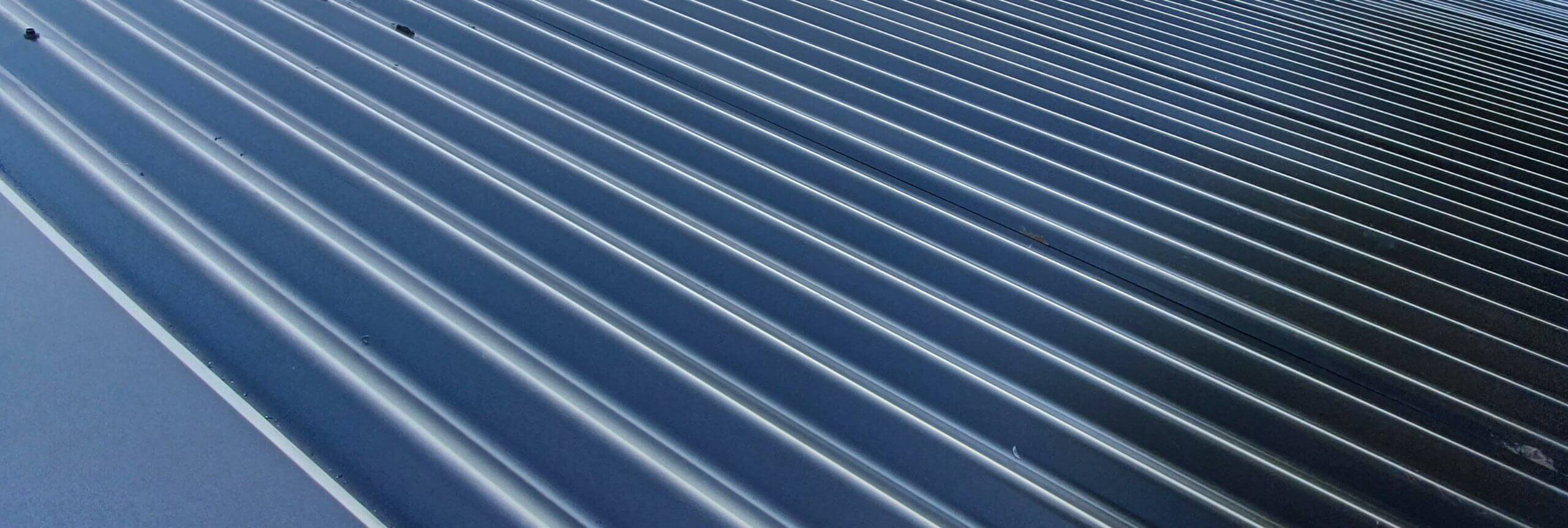Close up photo of metal roofing