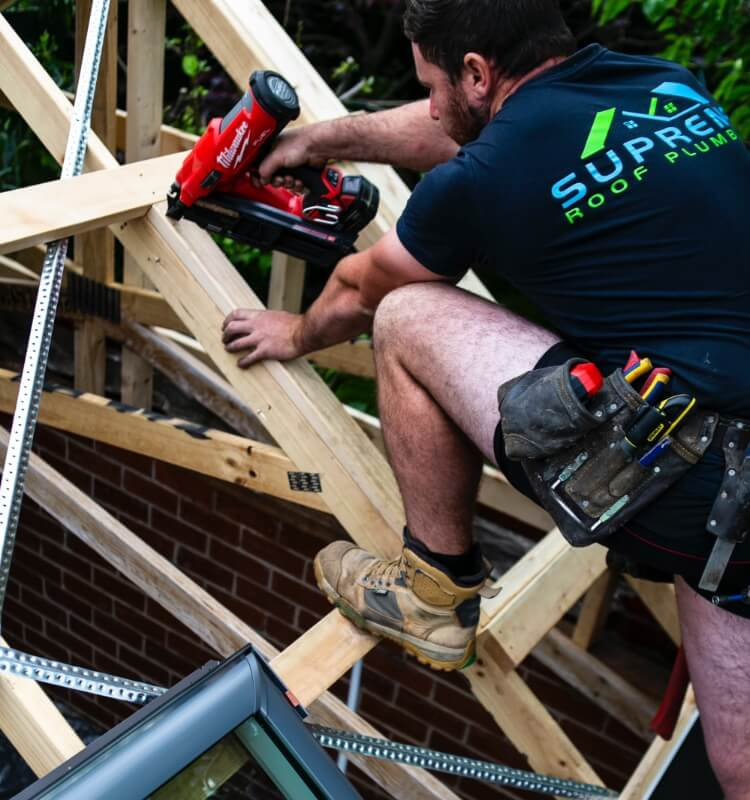 A supreme roof plumber working on a new roof installation