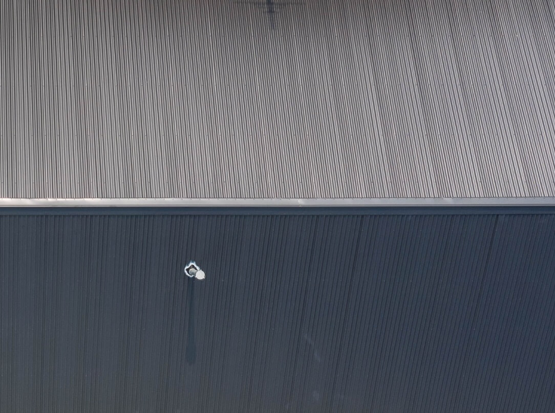 Birds eye view of a metal roof