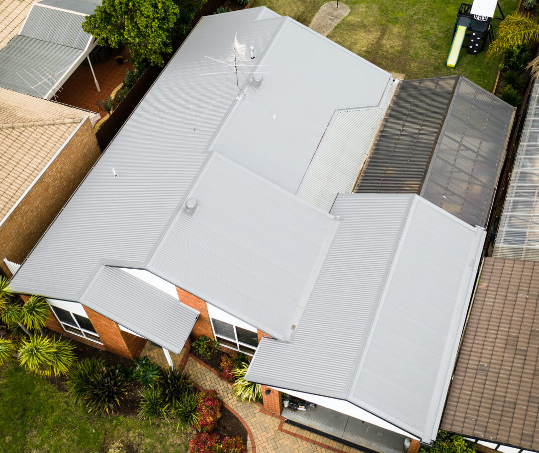 Surfmist Colorbond colour on a residential roof