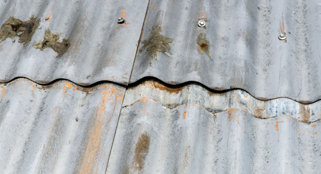 Leaking and rusted metal roof