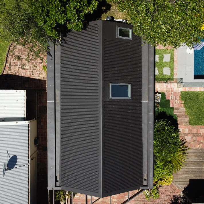 Birds eye view of a new Colorbond garage roof in Surrey Hills, Melbourne