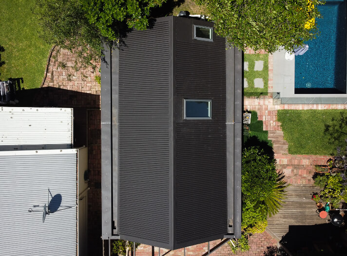 Birds eye view of a new Colorbond garage roof in Surry Hills, Melbourne