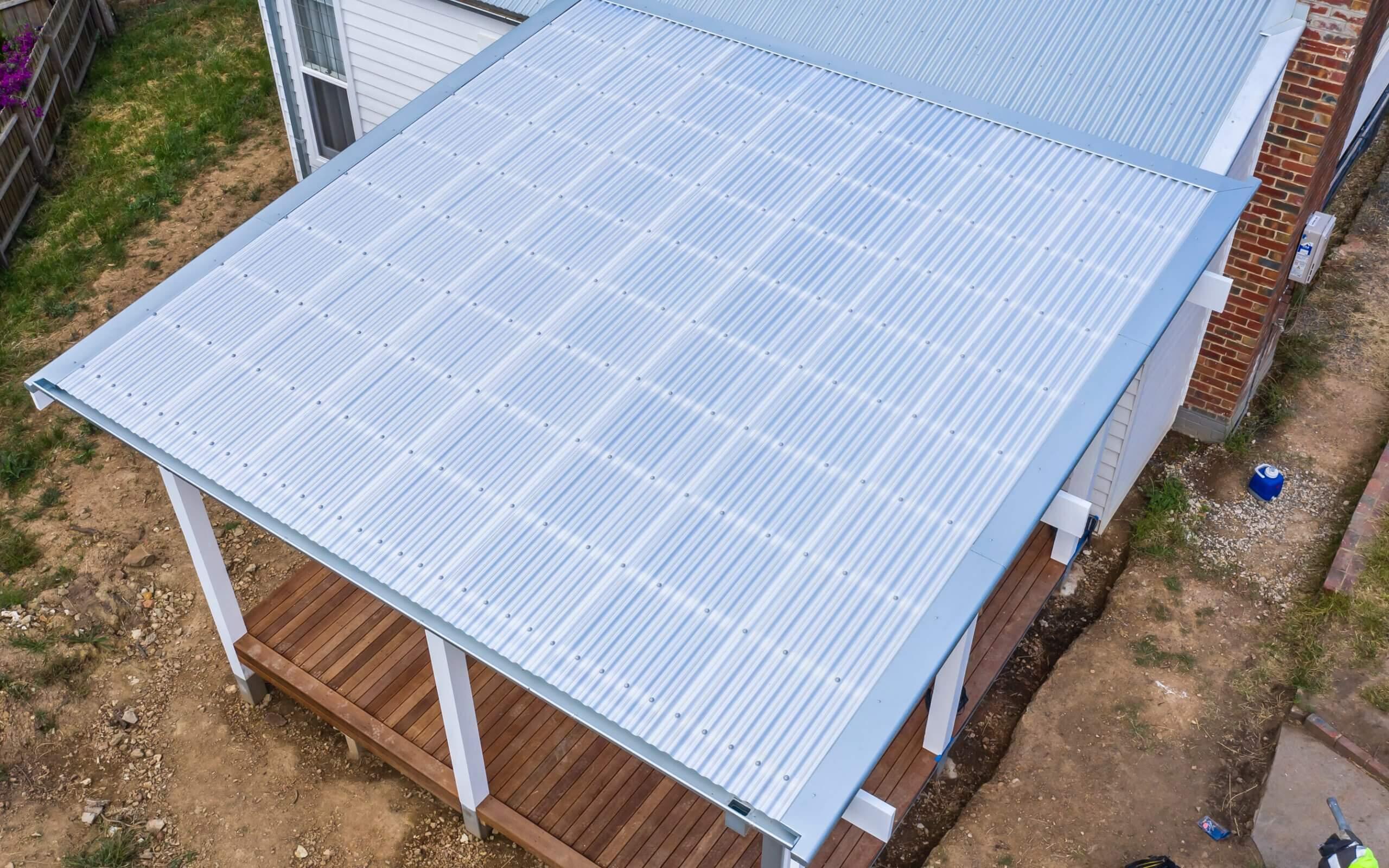 A shiny, new pergola roof