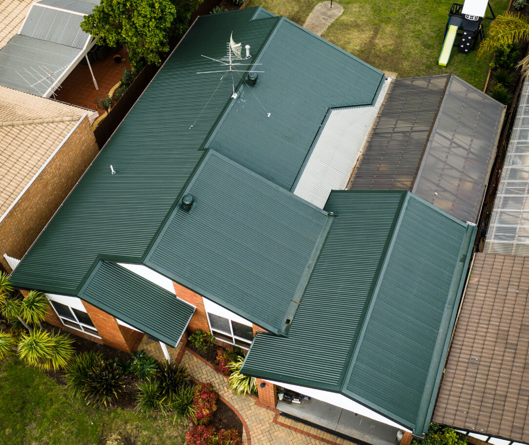 Cottage Green Colorbond colour on a residential roof