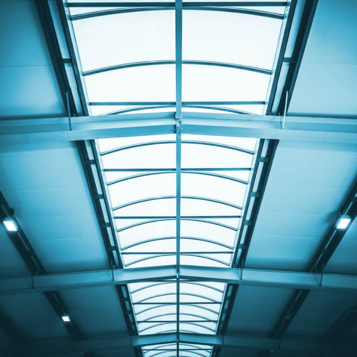 Industrial warehouse roof and ceiling windows with natural light