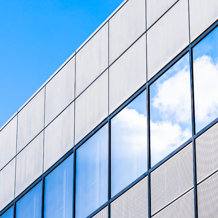 Commercial building and blue sky