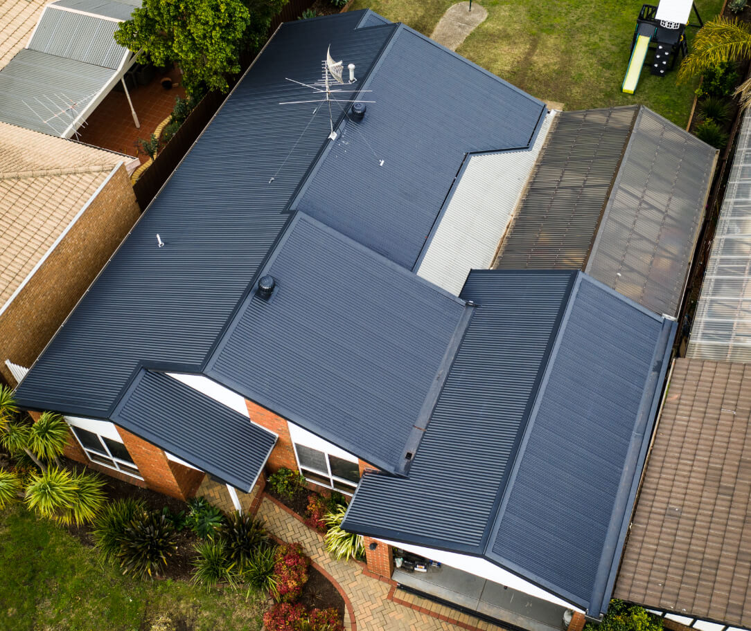 Deep Ocean Colorbond colour on a residential roof