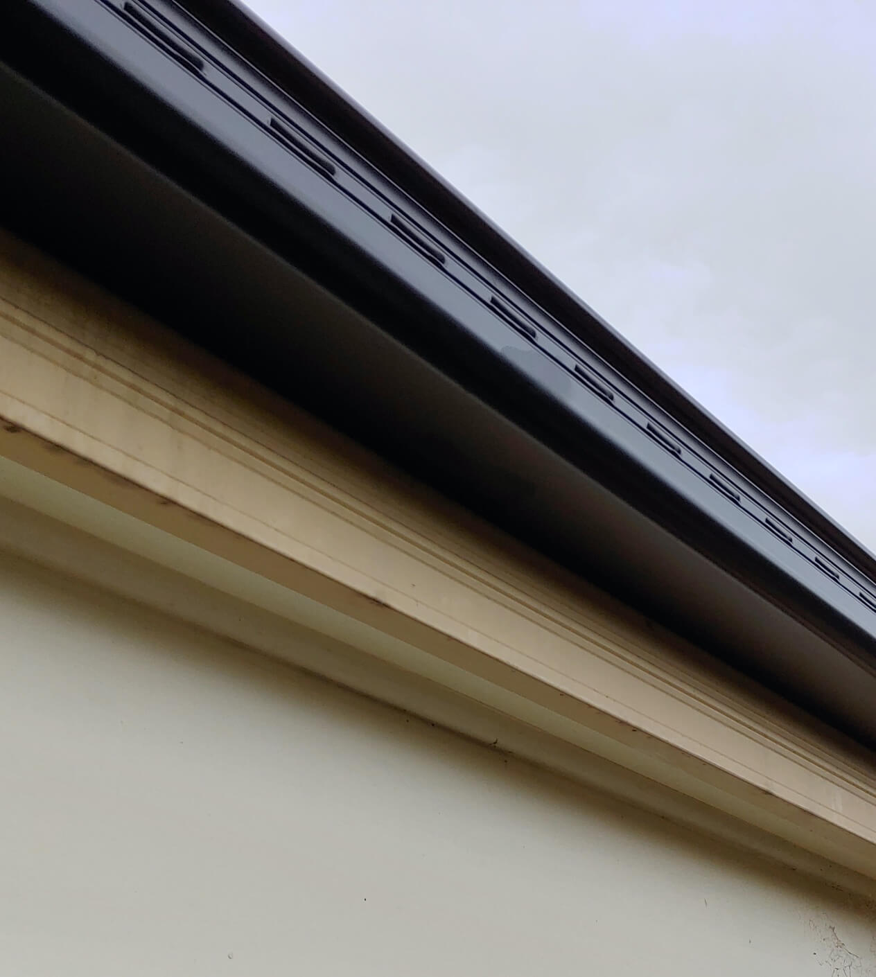 A close up photo of new Colorbond gutters