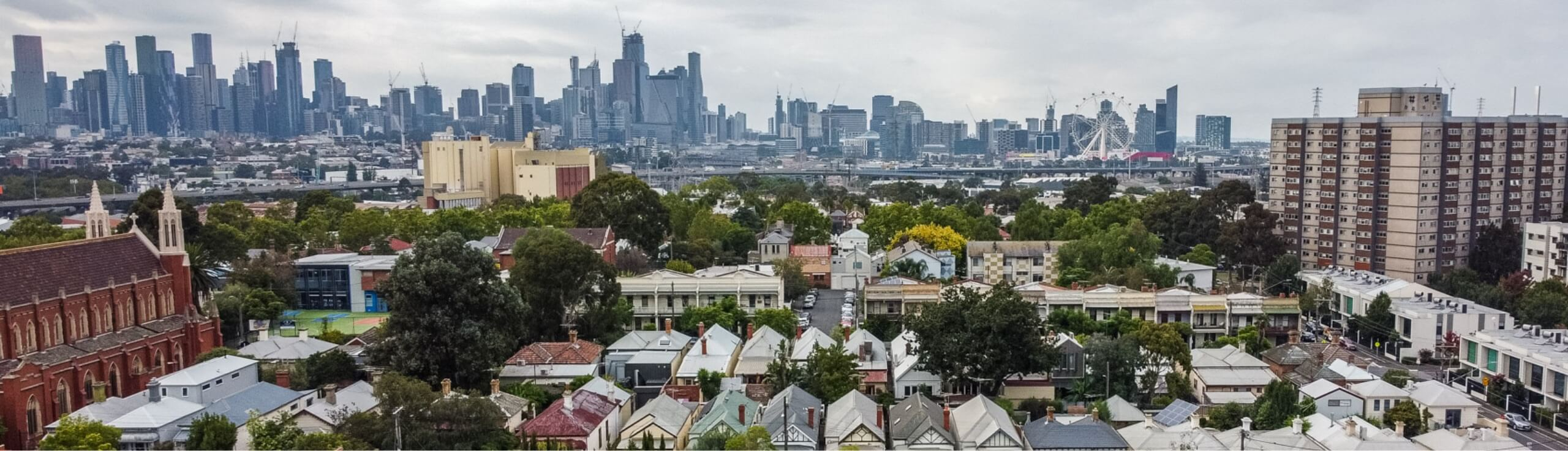 Rooftop image of Melbourne's Western suburbs
