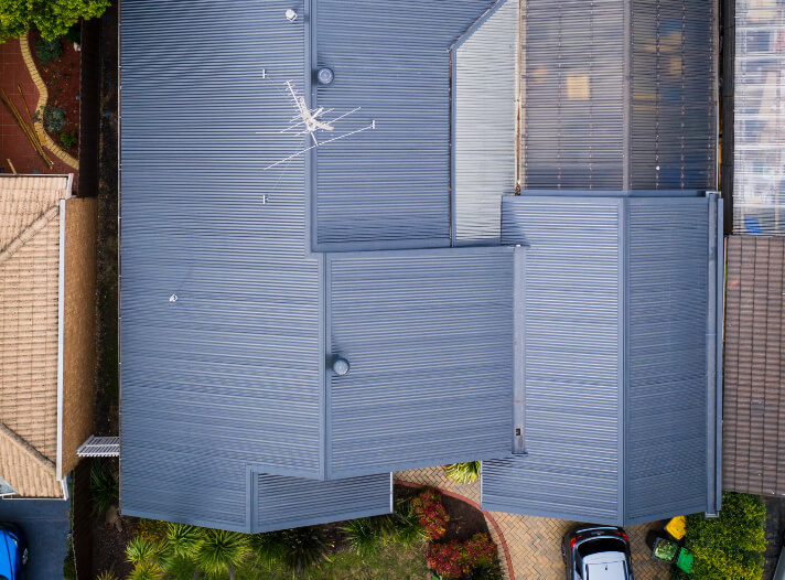 Birds eye view of new Colorbond Roof Conversion on a Melbourne home