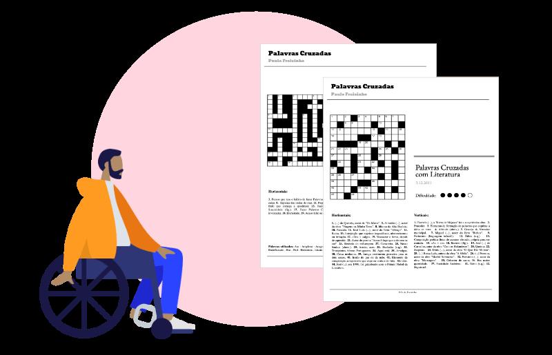 home sentado numa cadeira de rodas com 2 páginas de palavras cruzadas em fundo