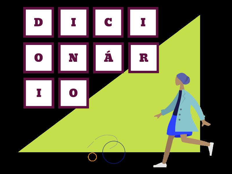 mulher com a palavras dicionario em quadriculas de palavras cruzadas