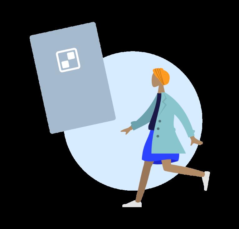 Mulher em movimento frente a um eBook
