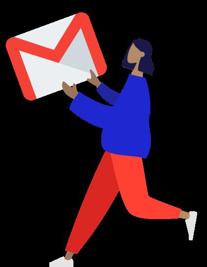 mulher a correr com logo do gmail na mão